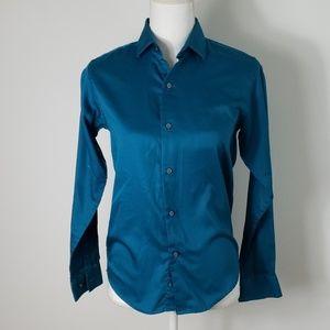 Calvin Klein : Sateen Teal Dress Shirt 14